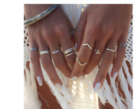 BOHO FESTIVAL BEACH HOLIDAY SET OF 12 SILVER KNUCKLE ASSORTED RINGS UK SELLER