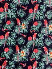 Navy Tropical Parrot Birds Jungle Childrens Printed 100% Cotton Poplin Fabric