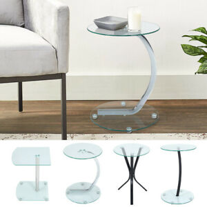 2-Tier Tempered Glass Sofa End Side Coffee Table Bedside Table Night Stand Lamp