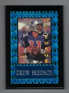 "Vintage 1994 6.5"" x 4.5"" Card Plaque Drew Bledsoe New England Patriots #3"