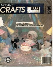 1980's VTG McCall's Bear Family and Clothes Pattern 8831 UNCUT