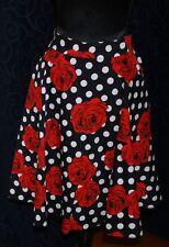 Rockabilly Retro swing full skirt black white polka dots red roses s14