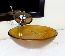 Bathroom Frosted Amber Glass Vessel Vanity Sink Faucet 12.6FM4