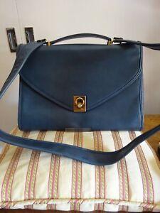 Vintage Goldpfeil Leather Messenger Bag, petrol blue