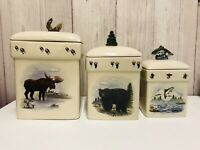 6 Piece New Debco Moose Black Bear Dolphin Ceramic Canister Set Cabin Wildlife