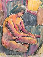 PINIAT 1925-2017 NEW YORK CITY ABSTRACT MODERNIST 1968 NUDE FIGURE  PAINTING