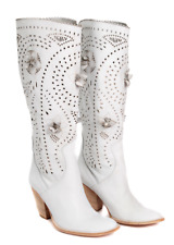 Designer Italian White Leather Boots Styled By Ana Lucy  RRP £149.99