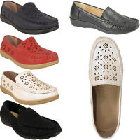 Ladies New Casual Slip On Flat Faux Leather Loafers Womens Shoes Size Uk 3-8