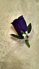 Purple Silk Rose Boutonniere - Groom/Groomsman -Wedding-Prom flowers