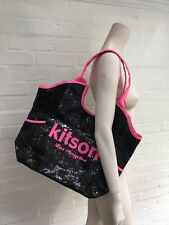 KITSON LOS ANGELES Sequin Beaded Large Tote Bag / Pink and Black Beach Bag