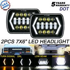 Pair 7x6 5x7 inch H6054 Hi-Lo Beam LED Headlight For Plym Nissan Toyota Pickup