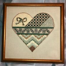 "Bargello cross stitch heart-shaped sampler in antiqued metal frame 13""W x 12.5""H"