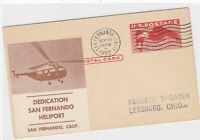 san fernando heliport 1952 dedication stamps cover ref 13153