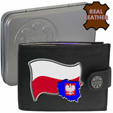 Poland Mens Leather Wallet Polish Flag map and Emblem Polska Mans gift Tin Box