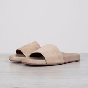 LORO PIANA 645$ Sea-Slide Walk Slide Sandals In Sandstone Beige Suede