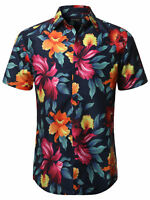 FashionOutfit Men's Casual Summer Floral Pattern Short Sleeve Hawaiian Shirt