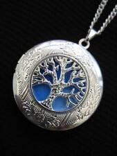 Árbol de la vida Medallón Collar Colgante Gótico Sky Blue Silver Vintage De Fantasía Fae