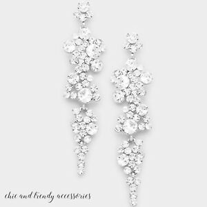EXQUISITE HIGH END CLEAR GLASS CHANDELIER CRYSTAL EARRINGS FORMAL CHUNKY JEWELRY