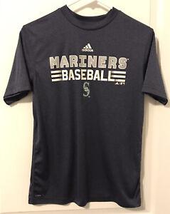 MLB Seattle Mariners Baseball Climalite Adidas Jersey Shirt  Size Youth L 14/16