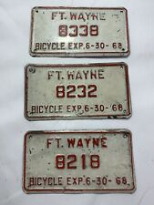 (3) 1968 Fort Wayne IN Bicycle License Plate Vintage ManCave Antique Old Plates