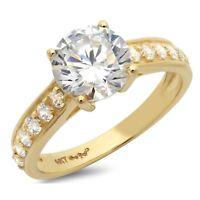 2.05ct Round Cut Wedding Bridal Engagement Anniversary Ring 14k Yellow Gold