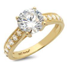 2.05ct Redondos Casamento corte anel de Noivado Bodas De Ouro Amarelo 14k