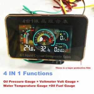 Car Motorcycle LCD Water Temperature/Oil Pressure/Oil Fuel/Voltage Gauges+Sensor