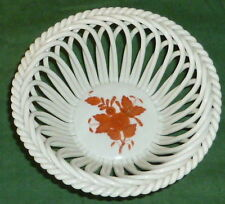 Vieja Herend Apponyi Orange cáscara porcelana cáscara flores top canastilla cesta cáscara
