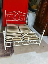 White Wrought Iron Double Bed Frame 56 Inches X 76 Inches with Slats
