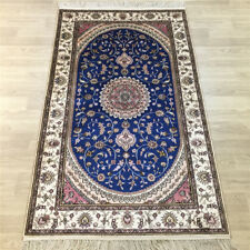 YILONG 3'x5' Small Size Handmade Silk Blue Rug Oriental Family Room Carpet Y022C