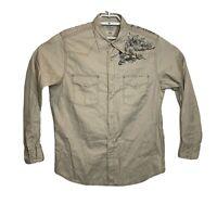 Lucky Brand Sportswear Mens Beige Long Sleeve Pearl Snap Western Shirt Sz Large