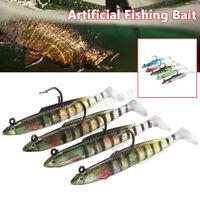 """4Pcs Soft Jighead Eel Lures 10cm/4"""" Artificial Sea Fishing Tackle Bait Crankbait"""