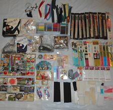 Vintage Lot Of Sewing Notions Zippers Threads Needles Brisk Sets Buttons Binding
