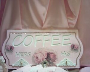 Shabby Victorian Chic COFFEE Plaque/Sign~PINK~VINTAGE Rose Design~OOAK