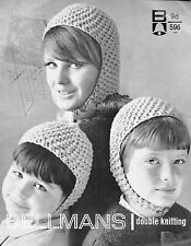 Vintage Bellmans double knitting pattern book #596 scooter hat chin strap beanie