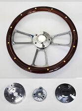 "67 Olds Cutlass 442 Delta Wood Steering Wheel 14"" Mahogany w/ rivets & Billet"