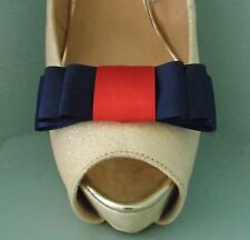 2 Navy & Red Triple Bow Clips for Shoes - other colours on request