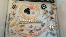 Vintage Jewelry Lot Rhinestones, Beads, Wiess, Graziano, Gerry's, Japan, Coro