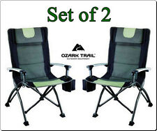 Outdoor High Back Folding Chair with Headrest Set of 2 Comfortable Camping Seat