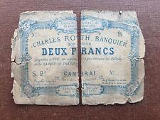 05 France / Frankreich 2 Francs 1870 Charles Roth Banquier Cambrai RRRRR