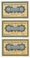 Wurzbach 10, 25 & 50 Pf. 01.07.1921 Grab. 1459.1 Erh. I