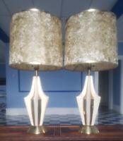 Vintage Pair White Gold Ceramic Atomic Lamps Retro 50's Mid Century W/ Shade