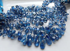 "4"" strand BLUE KYANITE faceted gem stone pear briolette beads 6mm - 12mm"