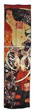 "Oblong Handmade 100% Silk Art Scarf Wrap Handrolled Hems w/ Klimt's ""Judith II"""