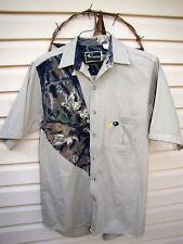 Mossy Oak Sportswear Short Sleeve Mossy Oak and beige button front.  Men's, Med.
