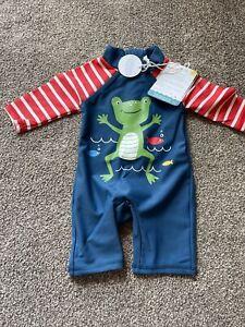 Frugi Baby Boys 0-3 Months Frog UV Sunsuit Swimming
