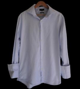 OXFORD Sz XL Blue Mini Houndstooth Collared Long Sleeve Dress Shirt