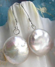 New Natural White Coin Freshwater Pearl Sterling 11-12mm Dangle Earrings