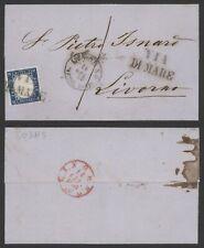 Italy 1863 - Cover Genova to Livorno L620