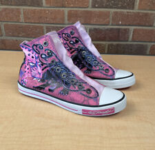 Ed Hardy Skull High Top Pink Shoes Womens Sz 8 Laceless Skulls Flowers Panther